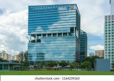 Singapore  - May 25, 2018: Shell office building at Buona Vista, Singapore