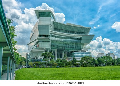 Singapore - May 25, 2018: The Star Vista in Singapore, Amazing Architecture with grass field in front