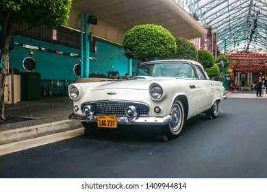 Singapore - May 25, 2019: Ford thunderbird 1957 in white color parked on the street. Left front side view