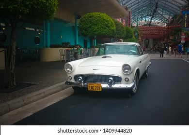 Singapore - May 25, 2019: Ford thunderbird 1957 in white color parked on the street. Front side