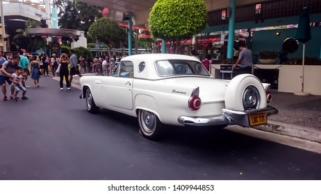 Singapore - May 25, 2019: Ford thunderbird 1957 in white color parked on the street. Left back side view