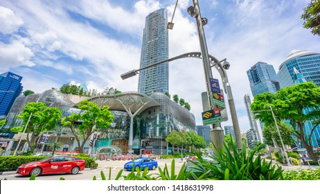 SINGAPORE - MAY 25, 2019:Transportation in Orchard.Road.Orchard Rd is the main shopping street in Singapore.Many car and bus use the road in the daily life