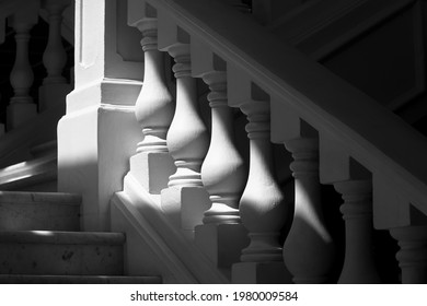 Singapore - May 25 2021: Flight of classical stone steps and balustrade at Raffles Hotel in late afternoon light