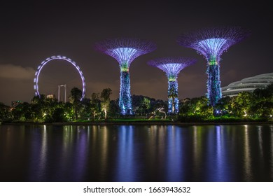 Singapore - May 27, 2018: Landscape view of gardens by the bay, the Gardens by the Bay is a nature park in the Central Region of Singapore, adjacent to the Marina Bay Sand Hotel.