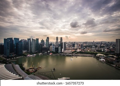 Singapore - May 27, 2018: View of central business downtown district at Singapore city.
