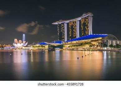 SINGAPORE - MAY 29,2016 : Singapore cityscape at night.