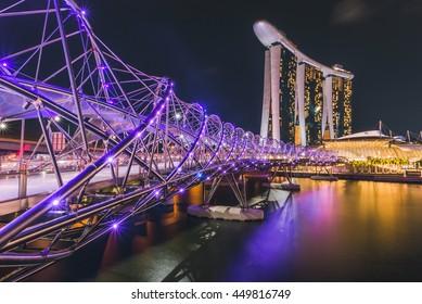 SINGAPORE - MAY 29,2016 : Helix Bridge at night time,Singapore