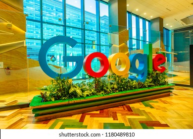 Singapore - May 5, 2018: closeup of Google sign inside a new office to house fast growing team of engineers in Singapore. Google's Asia-Pacific Headquarters con employs 1000 people.
