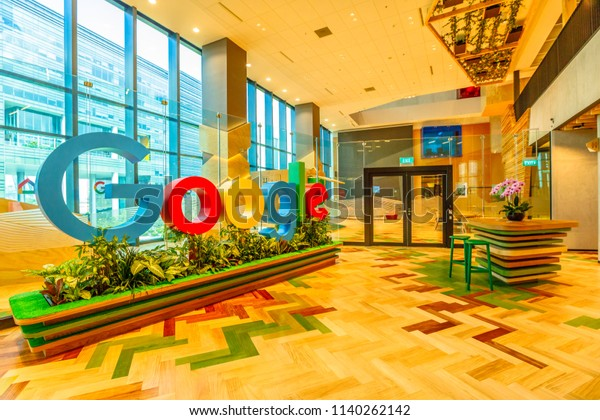 Singapore - May 5, 2018: Google sign in the new offices of Google Headquarters in Mapletree Business City II, Singapore. Google's Asia-Pacific HQ with employs 1000 people.