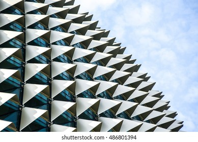 SINGAPORE - MAY 6, 2016 : Architectural roof detail of Esplanade Theatres on the Bay in Singapore