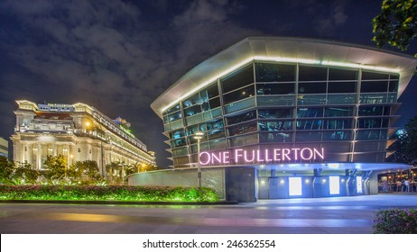Singapore, Singapore - May 7, 2014: The Fullerton Hotel Singapore at bluehour. It's a five-star luxury hotel and One Fullerton building, it's a waterfront dining.