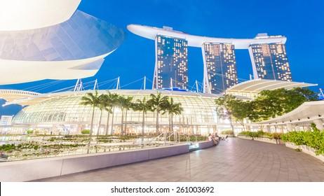 Singapore, Singapore - May 7, 2014: Marina bay sand, a luxury hotel located in Marina Bay. Singapore.