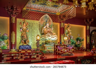 SINGAPORE, MAY 7: Interior of the Buddha Tooth Relic Temple, the most famous buddhist temple of Chinatown,  on May 7, 2015 in Singapore