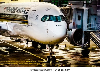 Singapore - May 8, 2019: Singapore Airlines Airbus A350-900 departing at Changi International Airport Terminal 3.