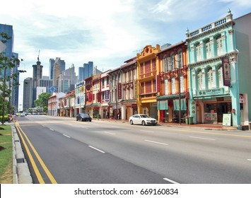 SINGAPORE - MAY 9: City street view of Upper Cross Street, in Singapore's Chinatown on May 9, 2015 in Singapore. Vintage Building scene.