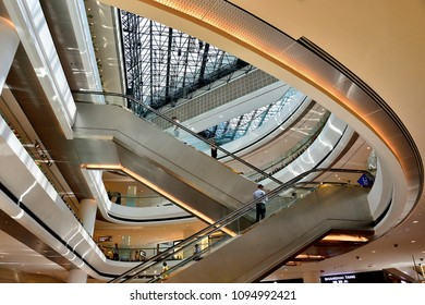 Singapore - May 9th 2018: Perspective view of the interior atrium of Raffles City Shopping Centre, a major retail and entertainment mall  in the downtown area