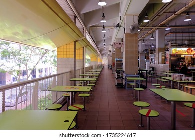 Singapore May2020 The usually crowded famous popular Amoy Food Centre is empty as no dining-in is allowed, only takeaways/takeouts.  Circuit breaker period; coronavirus covid-19 outbreak.
