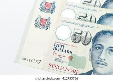Singapore money on the white background