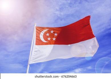 Singapore National Day.Singapore Flag on the mast.Singapore flag.