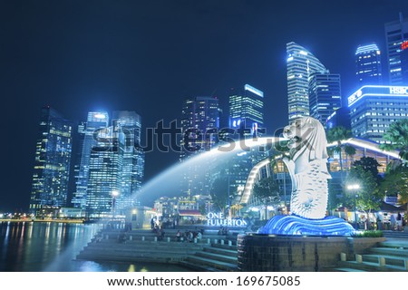 SINGAPORE NOV 05 The Merlion Fountain Stock Photo Edit Now