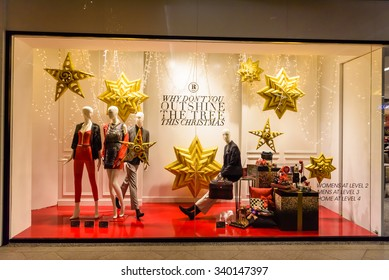 SINGAPORE â?? NOV 17, 2015: Fashion boutique/outlet/windows advertisement with Christmas decoration at JEM Robinsons Shopping Mall. It's a retail company which has stores in Singapore and Malaysia