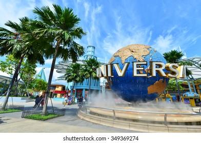 SINGAPORE - NOV, 18 UNIVERSAL STUDIOS SINGAPORE sign on November 18,2014. Universal Studios Singapore is a theme park located within Resorts World Sentosa on Sentosa Island, Singapore