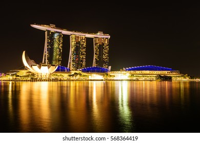 SINGAPORE - NOV 22, 2016: The Marina Bay Sands Resort Hotel on Nov 22, 2016 in Singapore. It is an integrated resort and the world's most expensive standalone casino property at S$8 billion.