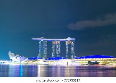 SINGAPORE - NOV 3 2017: Night view of Marina Bay Sands Resort Hotel in Singapore on Nov 3, 2017.