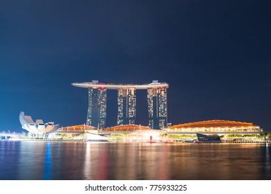 SINGAPORE - NOV 3: Night view of Marina Bay Sands Resort Hotel in Singapore on Nov 3, 2017.