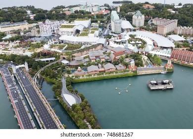 Singapore. November 01, 2017: Aerial view of Sentosa Island Singapore. A popular island resort in Singapore.