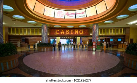 Singapore. November 01, 2017: Interior hall in the casino at Resorts World Sentosa, Singapore.