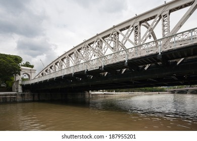 SINGAPORE - NOVEMBER 05, 2012: Famous Anderson Bridge is a vehicular bridge that spans across the Singapore River, was opened in 1910. It is located near the river's mouth in the district Riverside.
