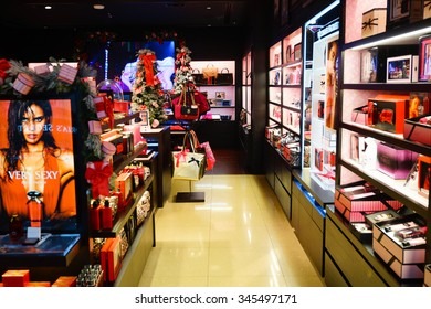 SINGAPORE - NOVEMBER 08, 2015: interior of Victoria's Secret store. Victoria's Secret is the largest American retailer of women's lingerie.The company sells lingerie, womenswear, and beauty products.