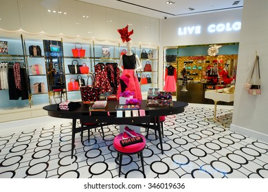 SINGAPORE - NOVEMBER 08, 2015: interior of Kate Spade store. Kate Spade New York is an American fashion design house founded as Kate Spade Handbags in January 1993, by Kate Spade
