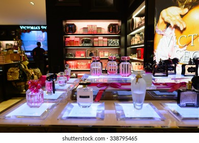 SINGAPORE - NOVEMBER 09, 2015: interior of Victoria's Secret store. Victoria's Secret is the largest American retailer of lingerie