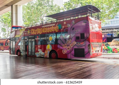 Singapore, Singapore - November 09, 2016 : Tourist buses at down town in Singapore.