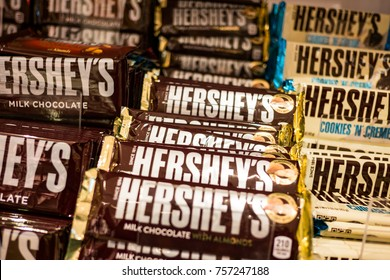 SINGAPORE - November 10, 2017 :  Hershey's chocolate on the shelf for selling. Hershey's was founded in 1894 and is the largest chocolate manufacturer in North America.