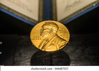 Singapore - November 14, 2015:  A golden image of the Nobel Prize decorates the front of the Science Museum in Singapore, 14 Nov 2015