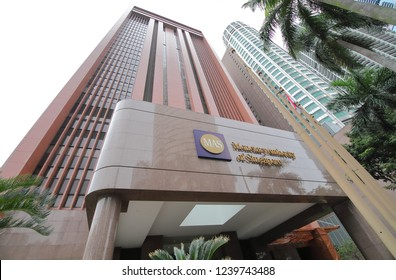 SINGAPORE - NOVEMBER 15, 2018: Monetary Authority of Singapore MAS. Monetary Authority of Singapore MAS is Singapores central bank and financial regulatory authority established in 1974