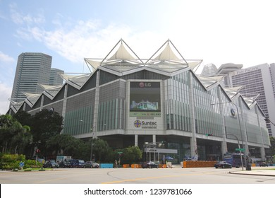 SINGAPORE - NOVEMBER 15, 2018: Suntec City Convention and Exhibition Centre in Singapore. Suntec City is a major multi-use development located in Marina Centre Singapore.