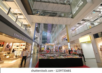 SINGAPORE - NOVEMBER 15, 2018: Unidentified people visit Clarke Quay Central mall Singapore. Clarke Quay Central is a contemporary shopping mall in Clark Quay MRT station opened in 2009