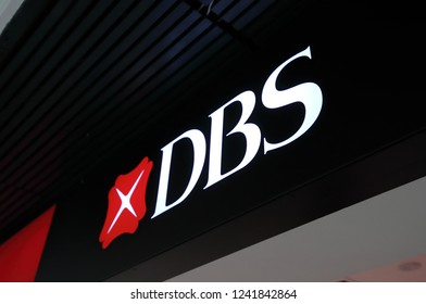 SINGAPORE - NOVEMBER 16, 2018: DBS Bank company logo. DBS bank was set up by Government of Singapore and is the largest bank in Southeast Asia.