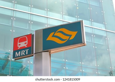 SINGAPORE - NOVEMBER 16, 2018: MRT Singapore subway system. MRT is a rapid transit system forming the major component of the railway system in Singapore.