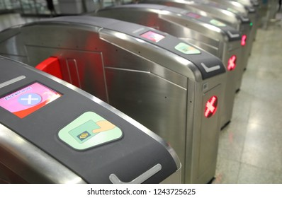 SINGAPORE - NOVEMBER 17, 2018: MRT Singapore subway ticketing gate. MRT is a rapid transit system forming the major component of the railway system in Singapore.