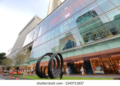 SINGAPORE - NOVEMBER 17, 2018: Unidentified people visit Scotts Square shopping mall in Orchard road Singapore.