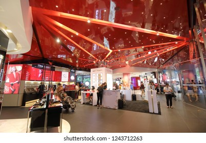 SINGAPORE - NOVEMBER 17, 2018: Unidentified people visit Tangs shopping mall in Orchard road Singapore.
