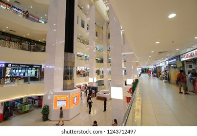 SINGAPORE - NOVEMBER 17, 2018: Unidentified people visit Lucky Plaza shopping mall in Orchard road Singapore.
