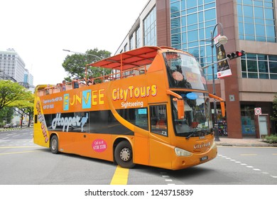SINGAPORE - NOVEMBER 17, 2018: Unidentified people travel by Tourist bus in Singapore.