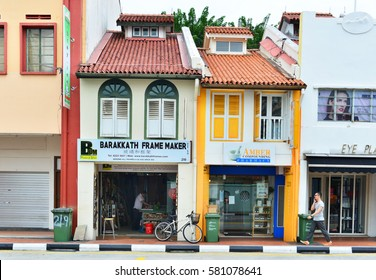 SINGAPORE, November 17: Colorful Singapore traditional houses in Chinatown, on Nov 17, 2016 in Singapore