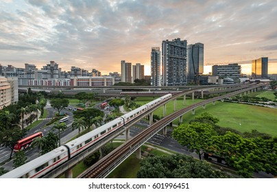Singapore - November 18, 2016: The peaceful and modern city life at Singapore with apartments, trains, street ...